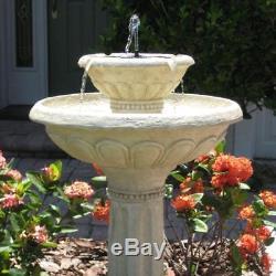 Solar Bird Bath Fountain 2-Tier Outdoor Garden Patio Antique White Stone