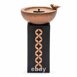 Solar Bird Bath Fountain Bowl Water Garden Yard Decor Outdoor Pump Stone Black