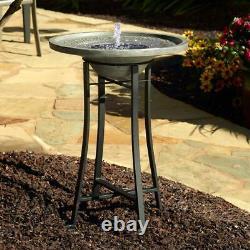 Solar Bird Bath Fountain Distressed Grey Cement Stone Patio Garden Balcony Decor