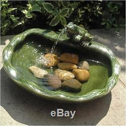 Solar Bird Bath Fountain Green Glazed Ceramic Frog Outdoor Garden Patio Decor