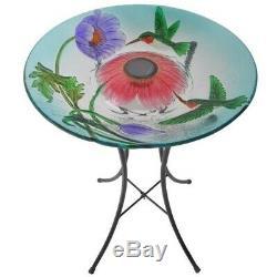 Solar Bird Bath Hummingbird Fusion Round Glass Bowl Garden Birdbath Fountain New
