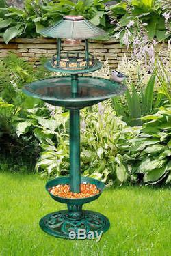 Solar Bird Hotel Garden Feeder & Bath Light Ornamental Table Station Garden