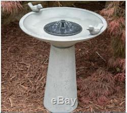 Solar Birdbath Fountain Garden Decor Basin Pump Bowl Gray Cast Stone Patio Lawn