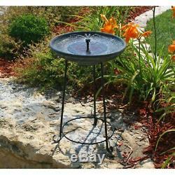 Solar Birdbath Fountain Pedestal Raised Garden Bird Bath Tall Water Bowl Decor