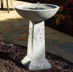 Solar Birdbath Outdoor Fountain Antique Vintage Pedestal Garden Yard Bird Bath