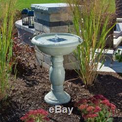 Solar Birdbath Outdoor Patio Garden Deck Balcony Decor 2-Fountain Heads Gray New