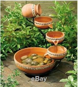 Solar Ceramic Outdoor Garden Fountain Bowls Birdbath Terra Cotta Southwestern