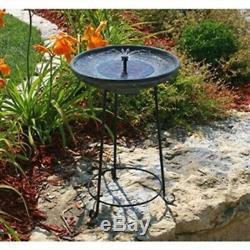 Solar Fountain Bird Bath with Wrought Iron Stand for Yard Garden Patio Deck
