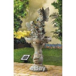 Solar Kids Fairy Statue Verdigris Outdoor Garden Bird Bath Water Fountain New