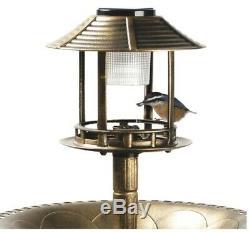 Solar LED Light Bird Bath Antique Feeder Water Outdoor Garden Pedestal Decor