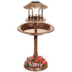 Solar Light House Pedestal Bird Bath Fountain Pool Unique Garden Patio Planter
