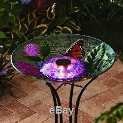 Solar Lighted Bird Bath Hand Painted Glass Bowl Garden Yard Decor BUTTERFLY 18