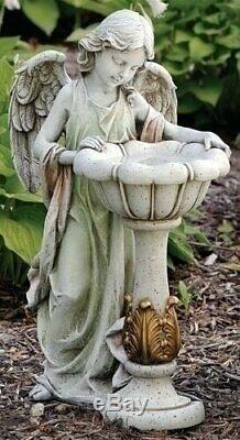 Solar Lighted Birdbath Garden Sculpture Statue Bird Bath Angel Art Water Bowl