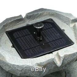 Solar Outdoor Bird Bath Fountain Birdbath Garden Decor Backyard Lawn Resin Stone