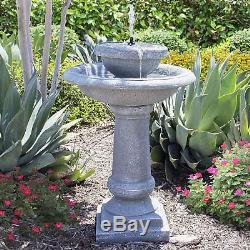 Solar Power 2 Tier Weathered Bird Bath Garden Water Fountain Patio Zen Waterfall