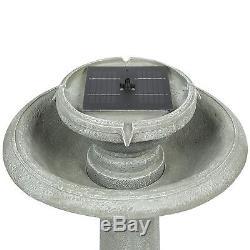 Solar Power 2 Tier Weathered Bird Bath Water Fountain Patio Waterfall Zen Garden