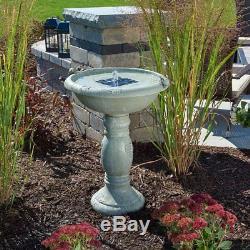 Solar Power Bird Bath Fountain Gray Stone Finish Garden Yard Patio Water Bowl