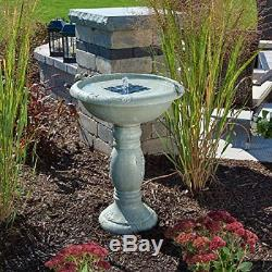 Solar Power Bird Bath Fountain Gray Stone Finish Garden Yard Patio Water Bowl