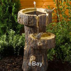 Solar Power Outdoor Garden Tree Trunk Birdbath Water Fountain Feature Cascade