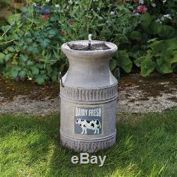 Solar Power Outdoor Milk Churn Water Fountain Bird Bath Feature Garden Decor