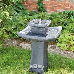 Solar Power Outdoor Pagoda Water Fountain Bird Bath Feature Garden Decor