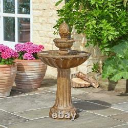 Solar Power Outdoor Queensbury Cascade Water Fountain Feature Bird Bath