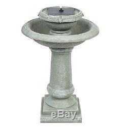 Solar Power Pedestal Fountain Bird Bath Weathered Stone-Look 2 Tier Yard Garden