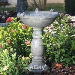 Solar Powered Birdbath Fountain Gray Weathered Stone Resin Patio Garden Outdoor