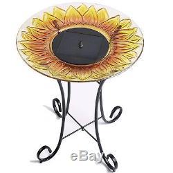 Solar Powered Birdbath Outdoor Garden Fountain Bird Bath Water Jet Pedestal Bowl