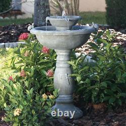 Solar-Powered Fountain & Birdbath Two-Tier Weathered Stone Patio Garden Balcony