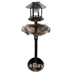 Solar Powered Light Garden Bird Bath Feeding Station Planter Ornament Free Stand