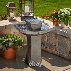 Solar Powered Modern Outdoor 2 Tier Zen Water Fountain Patio Garden Bird Bath