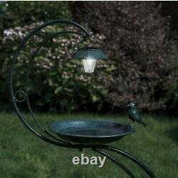 Solar Verdigris Metal Green Bird Bath With Garden Outdoor Planter and LED Light