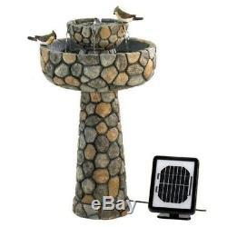 Solar Water Fountain Bird Bath Outdoor Decor Waterfall 2 Tier Garden Pump Stone