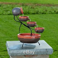 Solar Water Fountain Outdoor 4 Tier Ceramic Bowls Patio Garden Yard ECO Pump Sun