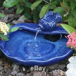 Solar Water Fountain Outdoor Ceramic Tabletop Birdbath Garden Waterfall Cascade