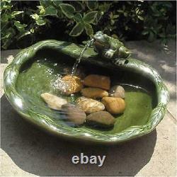 Solar Water Fountain Outdoor Decor Ceramic Bird Bath Patio Frog Stand New