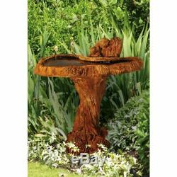 Squirrel Bird Bath Outdoor Wood Bowl Birdbath Garden Yard Fountain Water Animal