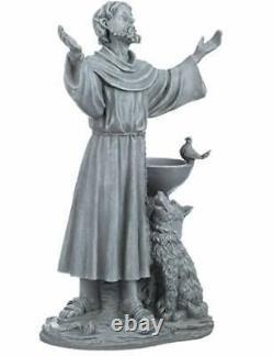 St. Francis' Blessing Garden Statue with Dog & Bird Bath/Feeder, Polyresin, 48cm