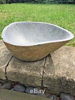 Stone Bird Bath Garden Outdoor Decor Hand Carved Stone bowl Statuary Birdbath