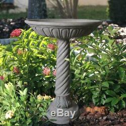 Stone Bird Bath Outdoor Yard Aged Antique Granite Finish Garden Handcrafted Bowl