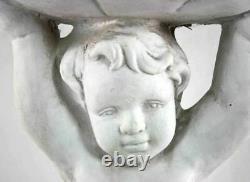 Stone Effect Cherub Bird Feeder Or Bath Statue Sculpture Garden Ornament