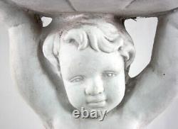 Stone Effect Cherub Bird Feeder Or Bird Bath Garden Lawn Ornament Statue Decor