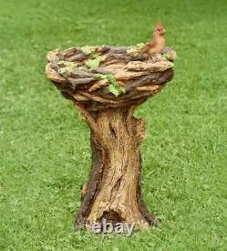 Succulent Bird Nest Tree Stump Full-size Garden Birdbath 16¼D. X 23¼H