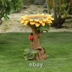 Sunflower Birdbath Polystone Pedestal Garden Sculpture Bird Bath Yard Water Bowl