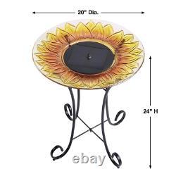 Sunflower Glass Solar Birdbath Fountain Outdoor Patio Porch Balcony Garden
