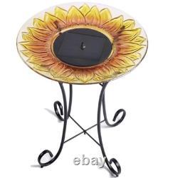 Sunflower Solar Bowl Unique Pedestal Bird Bath Pool Elegant Fountain Garden Art