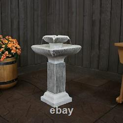 Sunnydaze 2-Tier Square Bird Bath Outdoor Water Fountain 25 Feature with LEDs