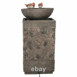 Sunnydaze 3 Bathing Birds Outdoor Water Fountain 25 Water Feature with LED