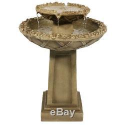 Sunnydaze Beveled Flower 2-Tier Outdoor Birdbath Garden Water Fountain 28-Inch
